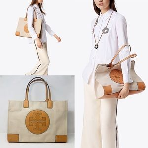 TORY BURCH CANVAS ELLA TOTE BAG